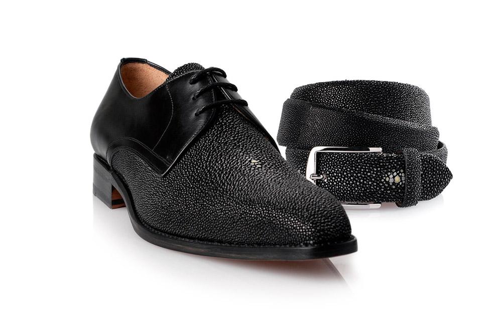 Men's Genuine Stingray Alto Chukka Sneaker. Black Suede Panel. Black Stingray. Black Laces. Black Gum Sole with Laser Engraved Logo