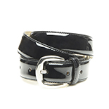 Women's black patent belt