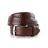 Men's brogue belt in dark brown