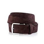 Men's suede belt in dark brown
