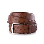 Men's ostrich belt in brown