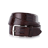 Men's ostrich belt in dark brown