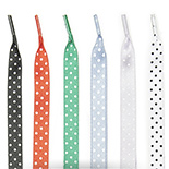Polka dotted silk shoe laces