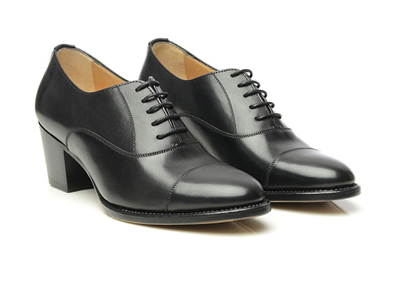 Shoepassion Com Damskie Czarne Polbuty Captoe Oxford Na Obcasie
