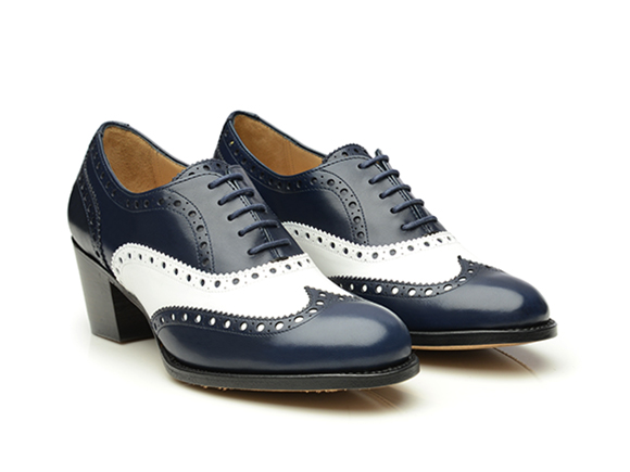 shoepassion – goodyear-welted two tone heeled brogue oxford in