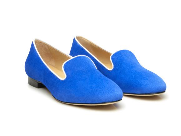 7047b22d5282 SHOEPASSION.com – Loafer italien en bleu pour femme