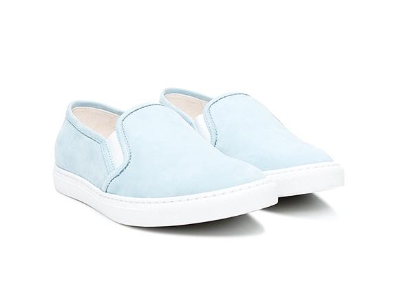 SHOEPASSION.com – Sneakers slip-on pour femme en nubuck bleu clair d3882445abd4