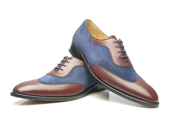 1ad7cd26b41c SHOEPASSION.com – Richelieu bicolore en velours cuir de veau cousu Goodyear