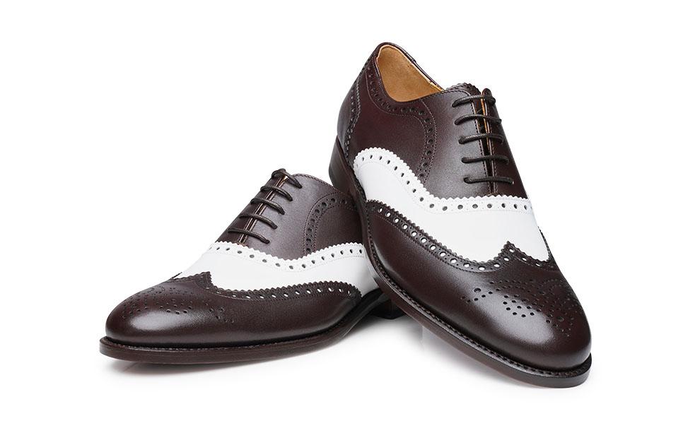 Shoepassion Com Buty Full Brogue Oxford W Kolorach Bialym I Ciemnobrazowym