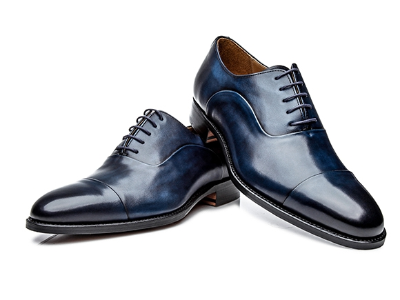 Goodyear-welted cap-toe Oxfords in navy