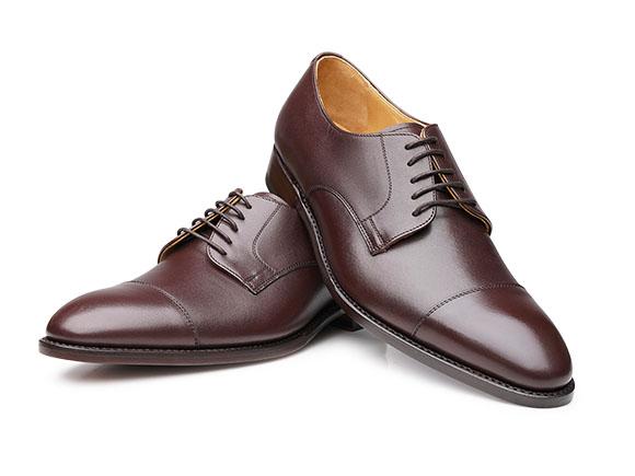Shoepassion Com Eleganckie Buty Meskie Captoe Derby Angielki Z Przeszyciem Ciemnobrazowe
