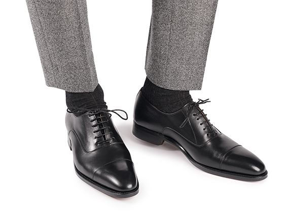Goodyear-welted Cap-Toe Oxford in black