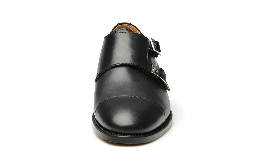 5b14cec524a24 Model No. 592 - szyte ramowo monki z podwójną klamrą w kolorze czarnym.