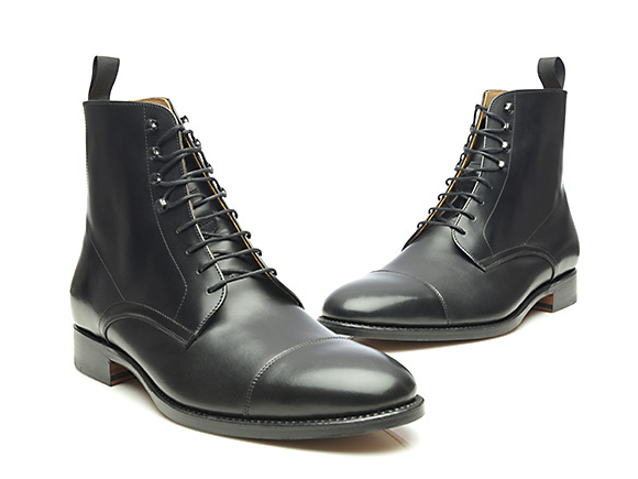 83d91a14484eb SHOEPASSION.com – Goodyear-welted cap-toe Derby boot in black