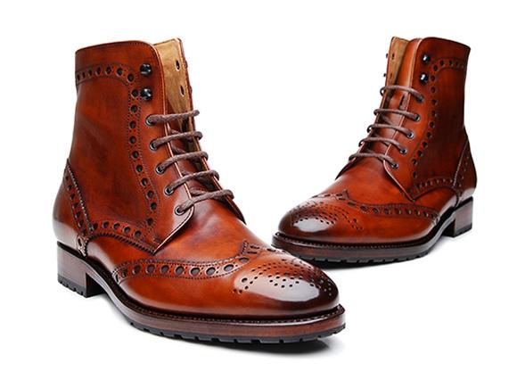54092491169817 SHOEPASSION.com – Boots à brogue cousus Goodyear de couleur whisky