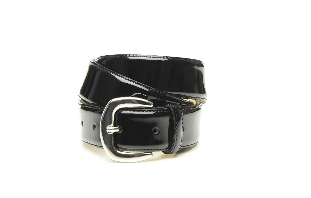 d92602eb5f98 SHOEPASSION.com – ceinture cousue en cuir verni noir pour femme