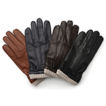 Leather gloves with cuff
